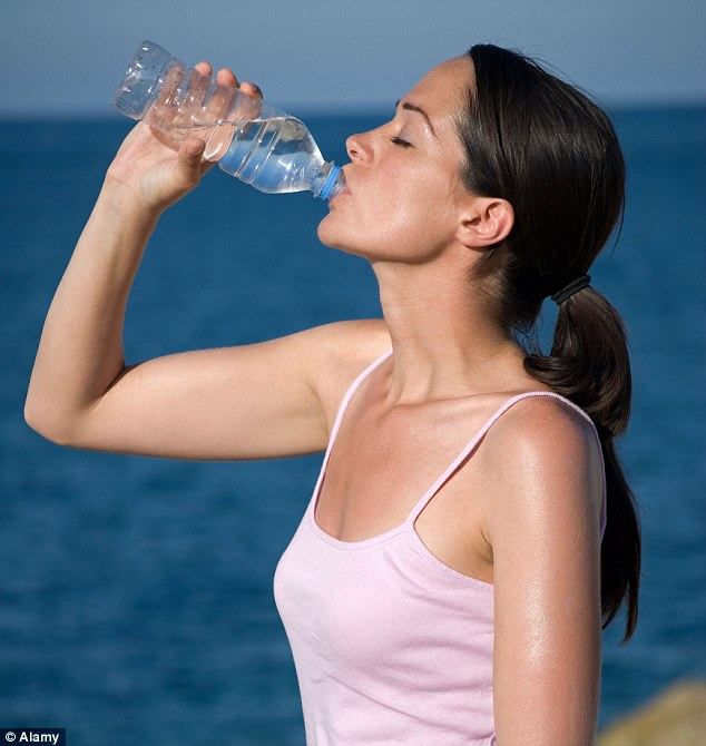 The bigger and more active you are, the more fluids you should be drinking, the same applies if you are in a warm climate (picture posed by model)